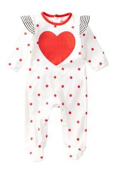 Heart Footed Coverall (Baby Girls)