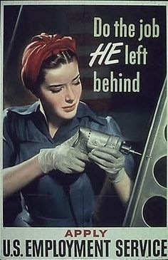"""Previously said: """"World War II Ad - women joined the workforce and kept the manufacturing engine going in the U. during World War II, providing materials needed for the war"""" My Mom was one of these women called, :Rosie the Riveter: Pin Up, Pub Vintage, Ww2 Posters, Foto Transfer, Women In History, Vintage Advertisements, Retro Advertising, World War Ii, Vintage Posters"""