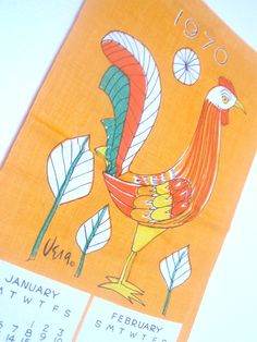 Giant Rooster - a vintage 1970 Vera Neumann Hand-Painted Calendar Tea Towel - Belgian Linen. $66 by Mtn Heirlooms