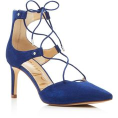 Sam Edelman Taylor Suede Pointed Toe Lace Up Pumps (40.975 HUF) ❤ liked on Polyvore featuring shoes, pumps, bandana blue, blue shoes, suede lace up shoes, blue suede shoes, laced shoes and pointy toe pumps
