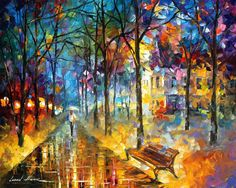 Colorful Paintings Alley Art On Canvas By Leonid Afremov
