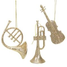 Set of 3 Champagne Gold Glittered Musical Instruments Christmas Ornaments 5""
