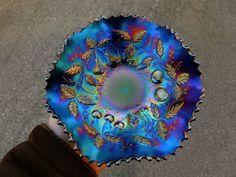 NORTHWOOD ELECTRIC PURPLE FRUITS & FLOWERS CARNIVAL GLASS 6 RUFFLE BOWL SUPERB!