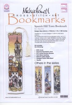 Greek Island Bookmarks 1 of 4 My Bookmarks, Cross Stitch Bookmarks, Cross Stitch Books, Just Cross Stitch, Cross Stitch Art, Beaded Cross Stitch, Cross Stitch Designs, Cross Stitching, Cross Stitch Embroidery