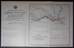 1915 Railroad Map Washington. Sunnyside, Prosser, Benton City, Pasco, Columbia & Snake Rivers WA. Northern Pacific Rail Antique. Map Vintage