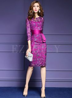 Shop for high quality Sexy Hollow Belt Three Quarters Sleeve Slim Bodycon Dress Elegant Outfit, Elegant Dresses, Pretty Dresses, Sexy Dresses, Beautiful Dresses, Dress Outfits, Short Dresses, Fashion Dresses, Pretty Outfits