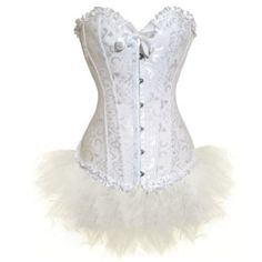 White Flower Tapestry Brocade Corset With White Lace: Price:$21.99 - $ 42.00