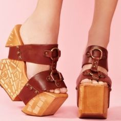 """Jeffrey Campbell """"The Burst"""" Platform Wedge Smooth leather platform sandal with chunky wood wedge; cut pattern detail. NWOB Jeffrey Campbell Shoes Wedges"""