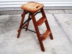 Reserved Layaway Rustic Reclaimed Wood Chair Step Ladder