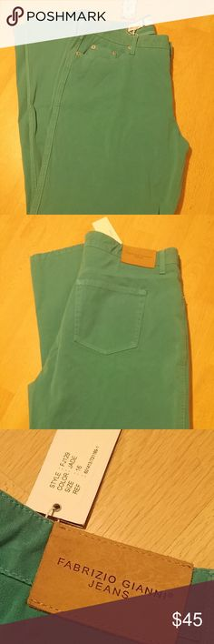 Fabrizio Gianni straigt leg stretch jeans in jade Fabrizio Gianni straight leg jeans. New with tags. style FJ129. machine washable. button closure. tapered jeans in turquoise/jade. cotton/spandex blend. made in the USA.  Plus size 16 - 34 waist, 40 length, 30 inseam, 36 hip.  See photos for details. Smoke free, pet friendly home.   Please message me with any questions. Ask if additional size detail is needed.   15% discount for 3+ item bundles. Check out my closet. Happy Poshing!  763/HA…