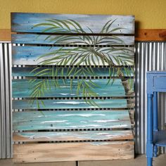 LARGE Hand painted Beach, Seascape horizon, oceanscape, upcycled, Distressed, Palm tree, Reclaimed Wood Pallet Art,  Unique repurposed fence