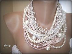 Chunky layered Wedding ivory glass pearl seed bead by galladesign