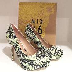"""NEW MIX No.6 Butterfly Platform Pumps New Mix No. 6 platform pump. Lime green, yellow and black butterfly print fabric upper.  1¼"""" hidden platform, 4¾"""" covered heel. Size US 8.5 / EUR 39. (Also available in size US 8 / EUR 38.5) Mix No 6 Shoes Platforms"""