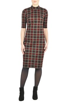 I <3 this Turtleneck tartan ponte knit dress from eShakti