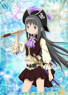 Homura would be a really good pirate, like very cold and calculating, but also super duper loyal to anyone that she considers her friend (really just Madoka) and eventually she would be a part of Madoka's pirate crew, being the first mate and general overseer of Madoka's safety. She's ruthless when fighting and especially when fighting for Madoka, she takes no fucking prisoners.