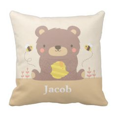 Cute Woodland Bear and Bees Nursery Room Decor Pillow