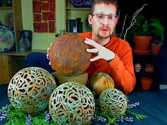 Clay garden globes....copper patina