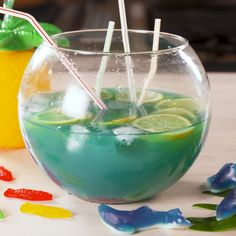 It's A Party With This Boozy Fishbowl Drink on. Bar Drinks, Cocktail Drinks, Alcoholic Drinks, Rum Cocktails, Basil Cocktail, Beverages, Alcohol Drink Recipes, Punch Recipes, Fun Drinks Alcohol