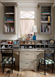 For office. One side desk, the other sewing table. Outlet behind each. More shelves above.