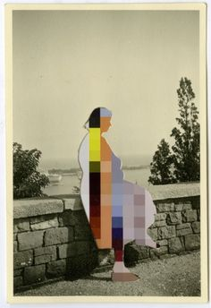 Lilly Lulay - analog b/w -digital colour photo collage