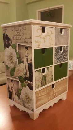 Takı Dolabı (Jewelry box) Decoupage Furniture, Decoupage Box, Decoupage Vintage, Funky Furniture, Paint Furniture, Upcycled Furniture, Home Furniture, Wood Crafts, Diy And Crafts