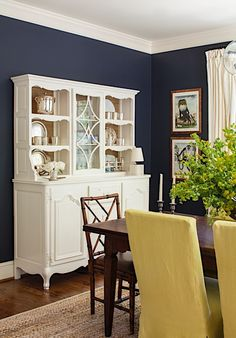 I would not paint my china cabinet white, Beautiful Space, Simply Beautiful, Lauren Liess, Star Wars Room, Navy Walls, China Cabinet, Dining Rooms, Brick, Design Inspiration