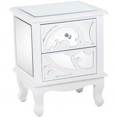2b8fe4b5716 Mesa noche Larisa 2 cajones madera blanca cristal espejo Art Decó