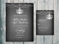 I really like the wording on this invitation ...and the chandelier  Chandelier and Garland Wedding Invitation and Reply Card Set - Wedding Stationery. $1.35, via Etsy.