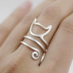 Sterling Siver Cute Cat Kitten Katze Finger Ring Item Type: RingsFine or Fashion: FashionSurface Width: 3mmStyle: TrendyGender: WomenMaterial: 925 SilverOccasio