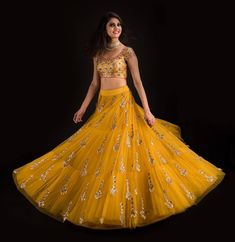 Beautiful mustard color lehenga and blouse from Banjara by Mrunalini Rao . Yellow Lehenga, Red Lehenga, Party Wear Lehenga, Anarkali, Bollywood Lehenga, Sharara, Designer Bridal Lehenga, Indian Bridal Lehenga, Indian Designer Outfits