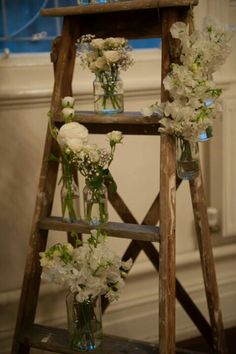 Vintage ladder Garden Ladder, Vintage Ladder, Rustic Weddings, Ladders, Ladder Decor, Wedding Flowers, Stairs, Staircases, Ladder