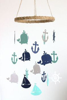 Rustic Burlap Nautical Nursery Mobile in Navy, Aqua & White-Baby Mobile, Baby Shower Gift Rustikale Sackleinen & Schnur nautischen Kindergarten Mobile Nautical Mobile, Nautical Nursery Decor, Nautical Baby, Nursery Themes, Nautical Theme, Nursery Ideas, Anchor Nursery, Room Themes, Baby Boy Rooms