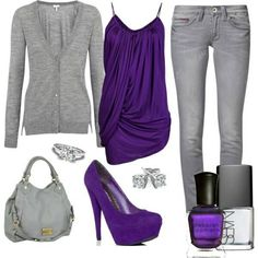 Purple outfit lighter pants would be really cute too Purple Shirt Outfits, Grey Outfit, Sexy Outfits, Fall Outfits, Stylish Outfits, Cute Outfits, Fashion Outfits, Womens Fashion, Fashion Ideas