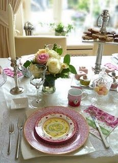 High Tea table setting - love the mismatch!