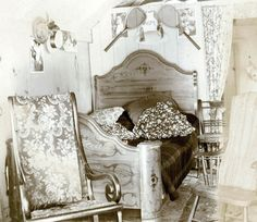 vintage photo Albumen Interior Decorated Bed Cabin Bedroom Victorian. on etsy