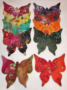 Applique: 20 Batik Fabric Butterfly Bright & Colorful SCRAPPY Scrapbooking Quilt