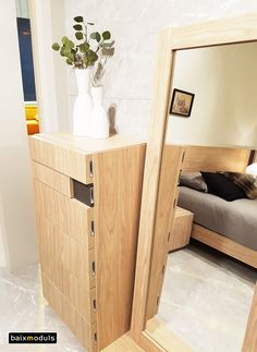 Conjunto sinfonier de 6 cajones modelo ZEN con espejo de madera, en color Arce y Antracita. Una combinación perfecta para tu dormitorio