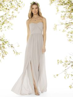 The soft, neutral colour of this fashionable Social Bridesmaids gown is suited to many skin tones and the cut is so wearable