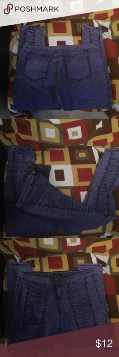 *FINAL PRICE* Purple and Blue Glo Jeans These are a super stretchy pair of Glo Jeans. They are a really cool denim blue and plum purple color. They have a really cool gathered kind of look on the legs in the front. Great for moving and dancing in!?? Glo Jeans Jeans Skinny