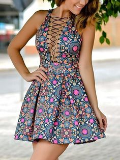 Deep V Neck Lattice-Front Florals Flare Dress