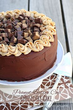Epic Peanut Butter Cup Cheesecake Cake #recipe