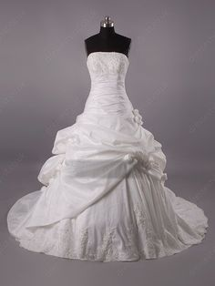 Train Ivory Appliques Wedding Dress Shop uk