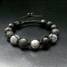 10mm 寿 'Shou' Longevity Men Gemstones Shamballa Macrame Adjustable Straps Bracelet Onyx Lava Agate Black Bracelet Men gift Healing Shamballa by ZenYogastones on Etsy