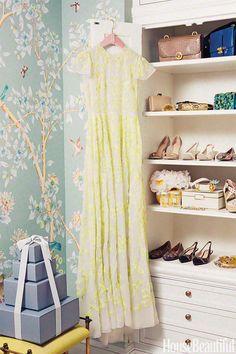 Tastemakers' Fabulous Closets Fabulous and colorful Gracie wallpaper in Aerin Lauders dressing room / closet. beautiful draperies and furnishings