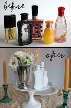 Freshen Up Your Home With Spray Paint - Painted Perfume Bottles (click image for 2 more ways!) #home #decor #style #diy
