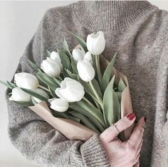 White Tulip Bouquet, White Tulips, Classy Aesthetic, Flower Aesthetic, Beauty Photos, My Flower, Make Me Smile, Succulents, Graphic Design