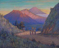 Olieverfschildering voorstellend een berglandschap aan Sumatera's Westkust door L.J. Eland (1884-1952). Eland, Indonesian Art, Balinese, Indie, Foundation, Scene, Mountains, Nature, Travel