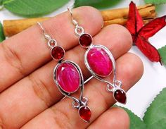 RUBY & QUARTZ GARNET 925 SILVER HOOK EARRINGS OF: 56mm  (DB21738)