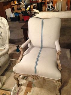painting fabric upholstery with annie sloan chalk paint, chalk paint, painted furniture, repurposing upcycling, reupholster