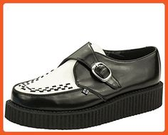 T.U.K. Original Footwear Viva Low Buckle Creeper,Black and White Leather,US 3 M - Athletic shoes for women (*Amazon Partner-Link)